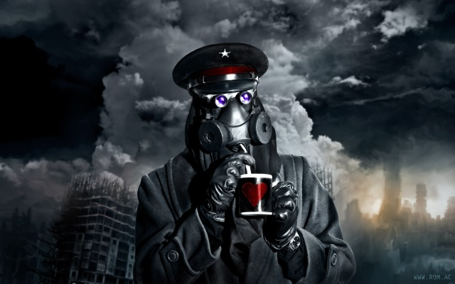 Wallpaper for Romatically Apocalyptic: The Captain and his mug, in front of a blasted landscape.
