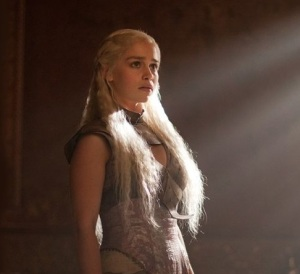 Daenerys Targaryen in the TV series version of the Qartheen gown