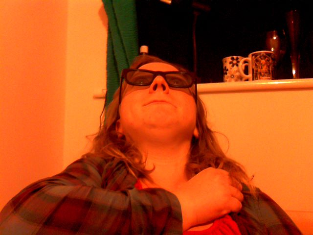 Me, frantically clutching at myself in my 3D glasses