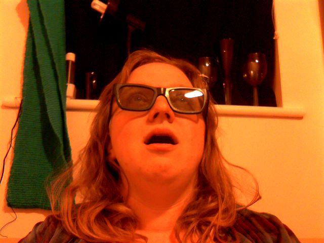 Me, gaping in wonder, in my 3D glasses