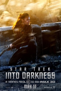 Star Trek: Into Darkness poster, featuring Uhura looking badass
