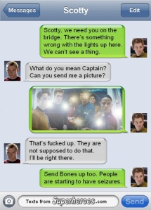 Textsfromsuperheroes mocks J J Abrams' obsession with lens flare
